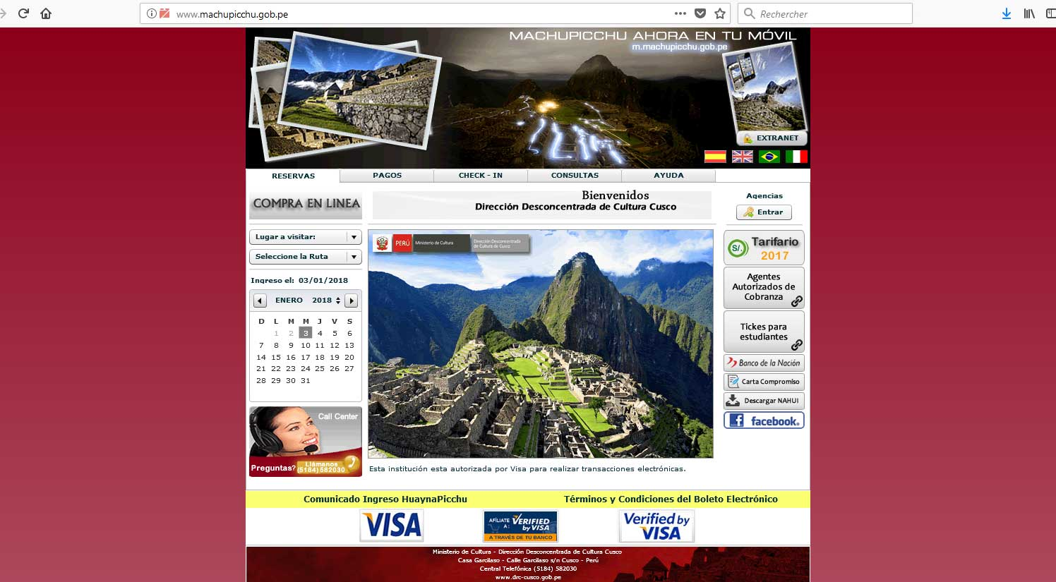 sensations voyage perou ticket billet machu picchu site officiel bon plan