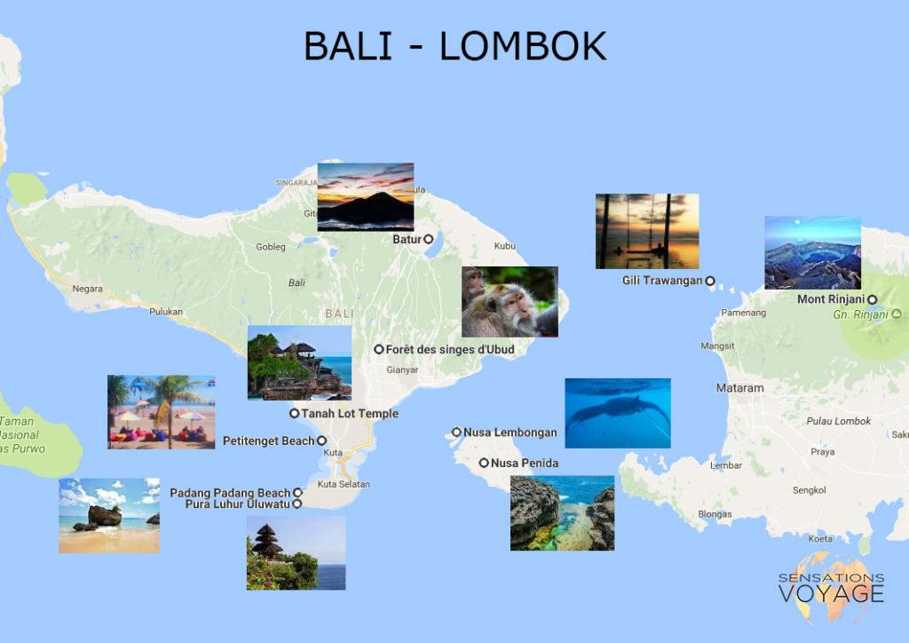 Sensations Voyage Bali Carte Touristique