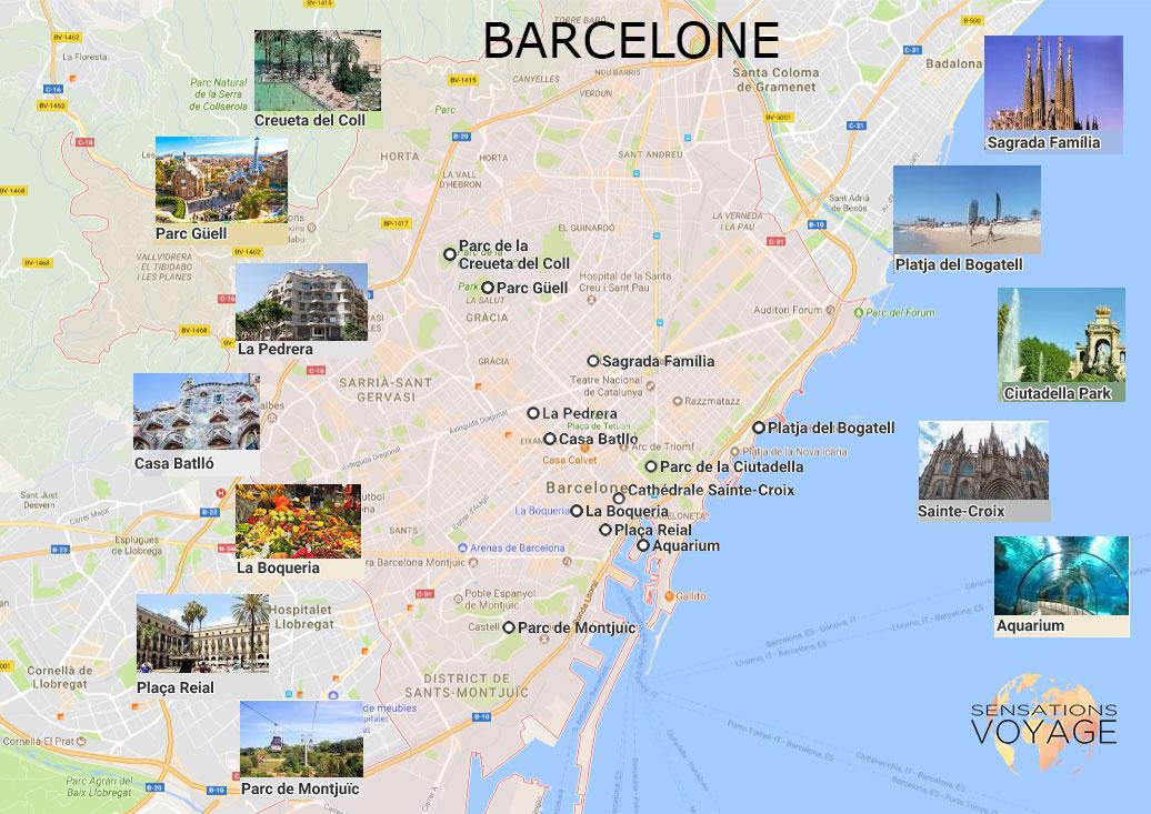 Carte Touristique De Barcelone.5 Jours Pour Decouvrir Barcelone A Pied Sensations Voyage